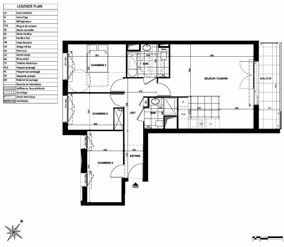 Plan D442, appartement neuf type T4 au 4ème étage, orienté Nord faisant 82m² du programme neuf L'INSTANT à Clichy.