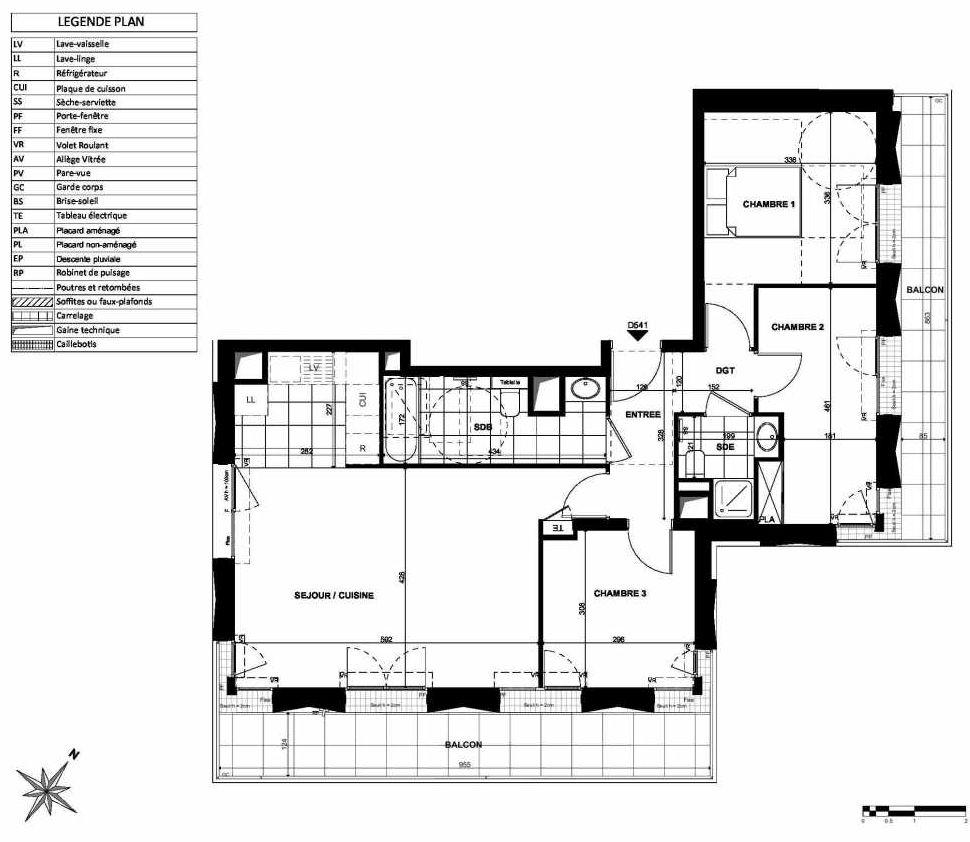 Plan D541, appartement neuf type T4 au 5ème étage, orienté Sud faisant 80m² du programme neuf L'INSTANT à Clichy.