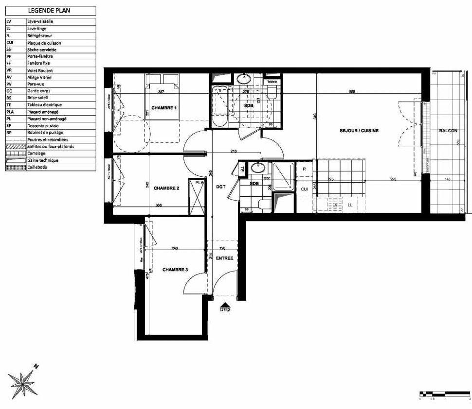 Plan D742, appartement neuf type T4 au 7ème étage, orienté Nord faisant 82m² du programme neuf L'INSTANT à Clichy.