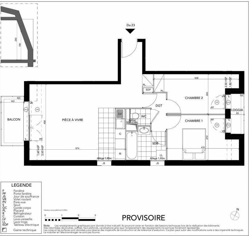 Plan Da23, appartement neuf type T3 au 2ème étage, orienté Sud faisant 58m² du programme neuf Gardenia à Argenteuil.