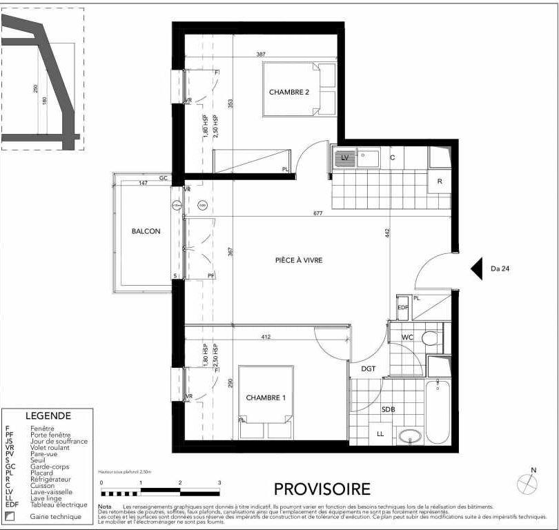 Plan Da24, appartement neuf type T3 au 2ème étage, orienté Sud faisant 57m² du programme neuf Gardenia à Argenteuil.