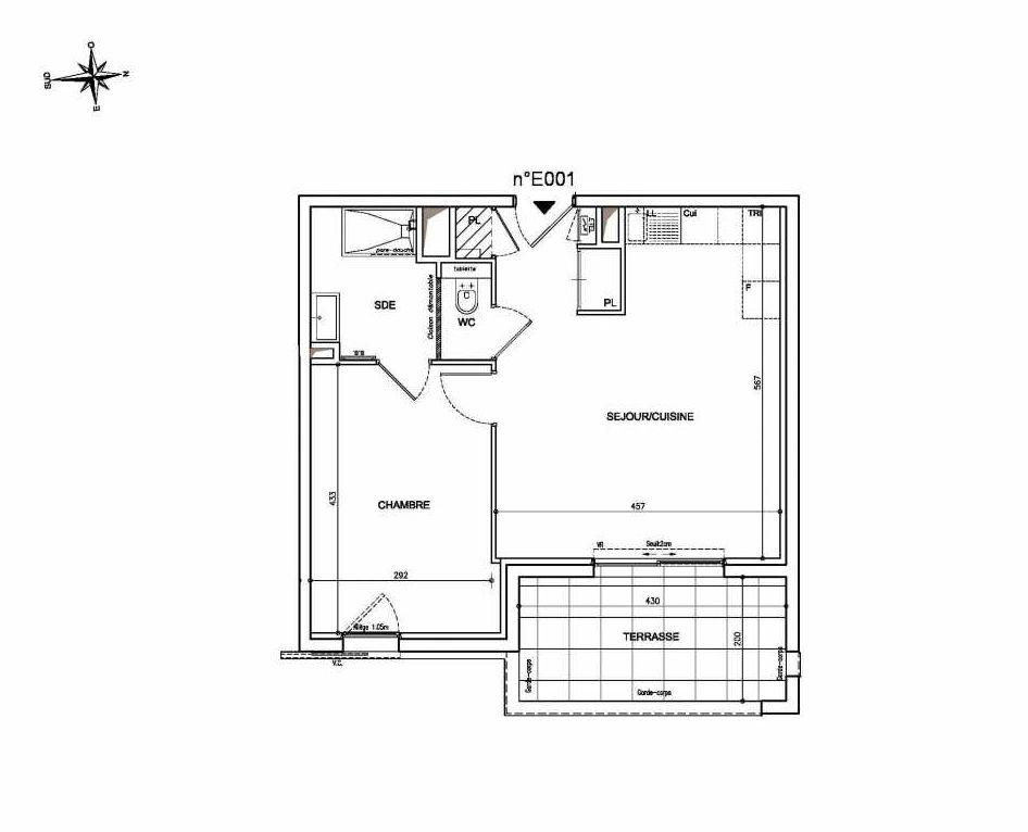 Plan E001, appartement neuf type T2 au Rez de chaussée, orienté Est faisant 44m² du programme neuf Coeur Mougins - Jardins des Sens et Jardins en Vue à Mougins.