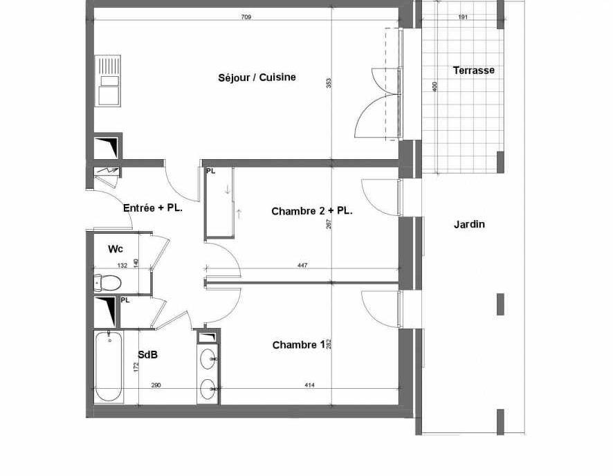 Plan E005, appartement neuf type T3 au Rez de chaussée, faisant 62m² du programme neuf Terra Uva Nue-propriété à Le Castellet.