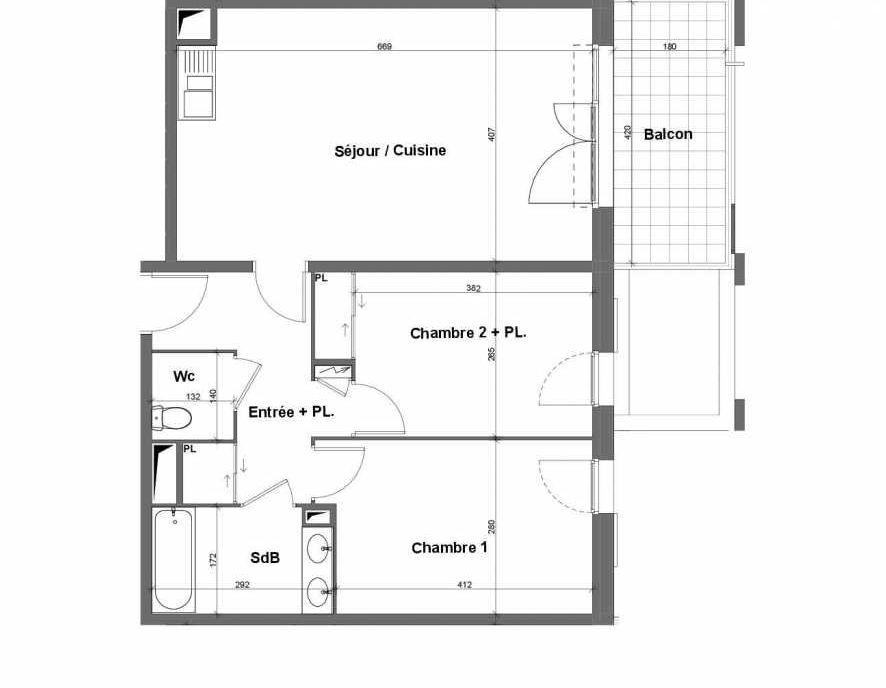 Plan E014, appartement neuf type T3 au 1er étage, faisant 64m² du programme neuf Terra Uva Nue-propriété à Le Castellet.