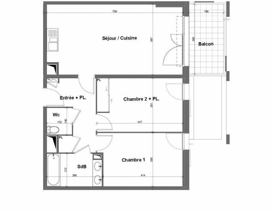 Plan E015, appartement neuf type T3 au 1er étage, faisant 64m² du programme neuf Terra Uva Nue-propriété à Le Castellet.