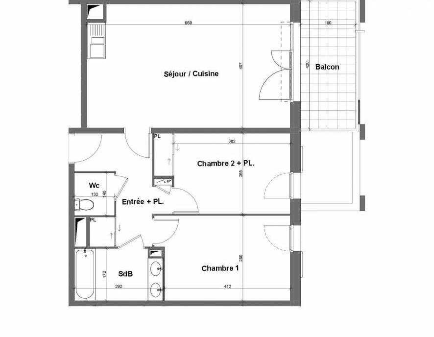 Plan E024, appartement neuf type T3 au 2ème étage, faisant 64m² du programme neuf Terra Uva Nue-propriété à Le Castellet.
