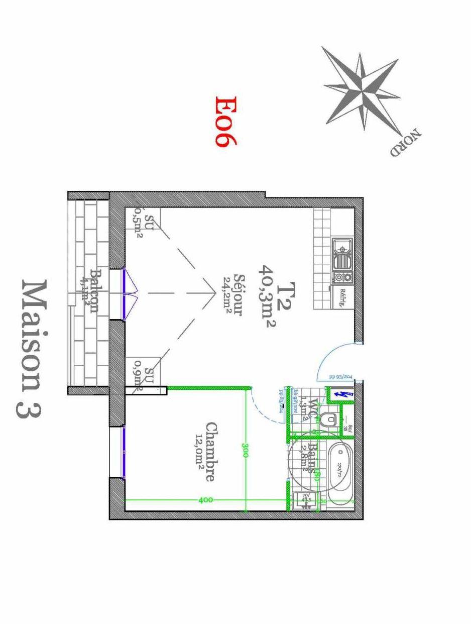 Plan E06, appartement neuf type T2 au 2ème étage, orienté Sud faisant 40m² du programme neuf Les Jardins de Claye à Claye-Souilly.