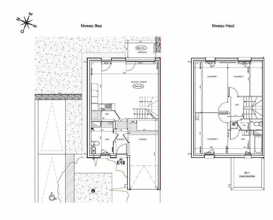 Plan E10, appartement neuf type T4 au Rez de chaussée, faisant 86m² du programme neuf LE PARC DES ARCHERS à Montlhéry.