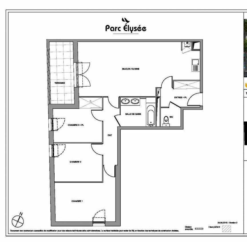 Plan E10, appartement neuf type T4 au Rez de chaussée, faisant 82m² du programme neuf Parc Elysée à Castelnau-le-Lez.