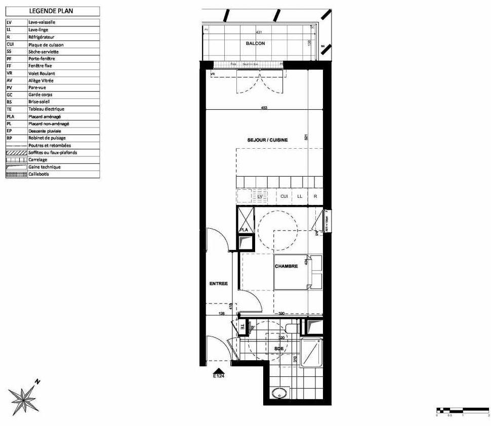 Plan E124, appartement neuf type T2 au 1er étage, orienté Nord faisant 52m² du programme neuf L'INSTANT à Clichy.