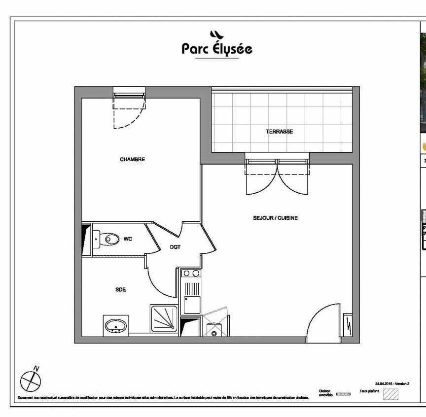 Plan E13, appartement neuf type T2 au 1er étage, faisant 41m² du programme neuf Parc Elysée à Castelnau-le-Lez.