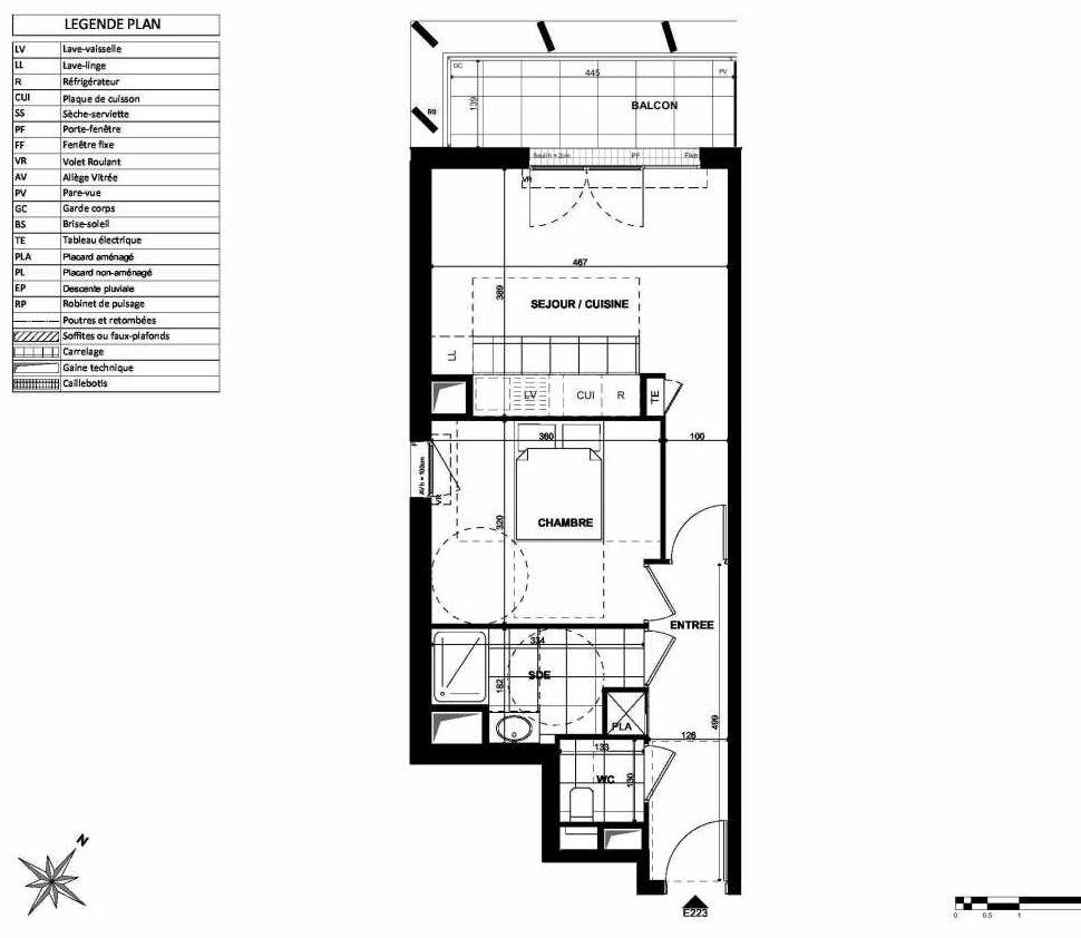 Plan E223, appartement neuf type T2 au 2ème étage, orienté Nord faisant 44m² du programme neuf L'INSTANT à Clichy.