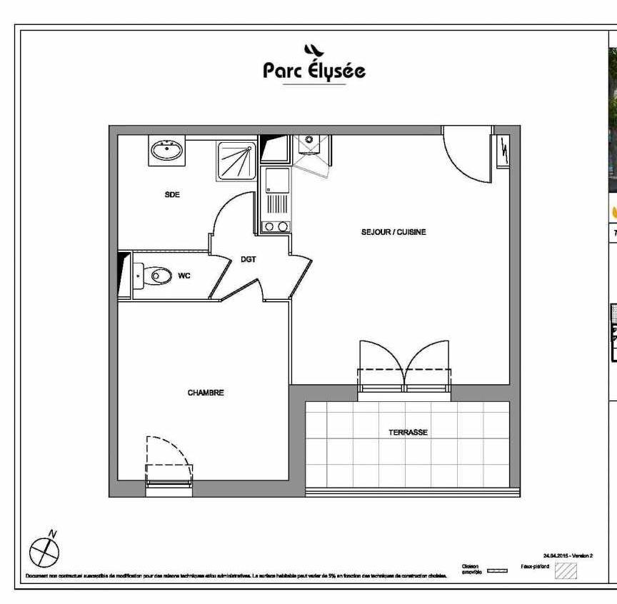 Plan E27, appartement neuf type T2 au 2ème étage, faisant 41m² du programme neuf Parc Elysée à Castelnau-le-Lez.