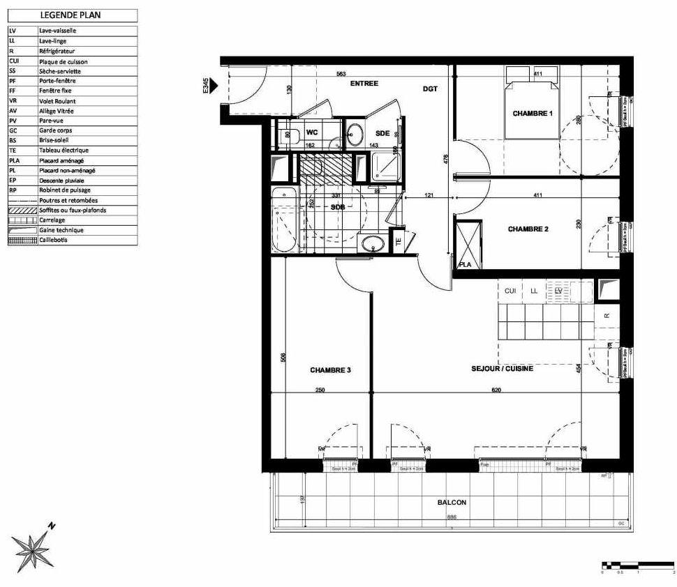 Plan E345, appartement neuf type T4 au 3ème étage, orienté Sud faisant 84m² du programme neuf L'INSTANT à Clichy.