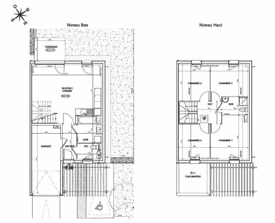 Plan E36, appartement neuf type T5 au Rez de chaussée, faisant 90m² du programme neuf LE PARC DES ARCHERS à Montlhéry.
