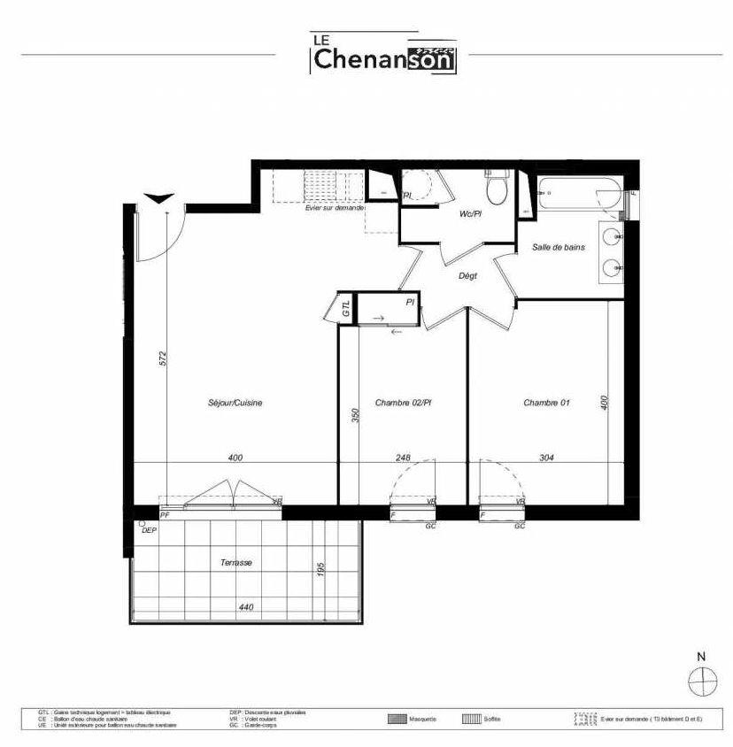 Plan E412, appartement neuf type T3 au Rez de chaussée, faisant 59m² du programme neuf Domaine Mas Rous Le Chenanson à Perpignan.