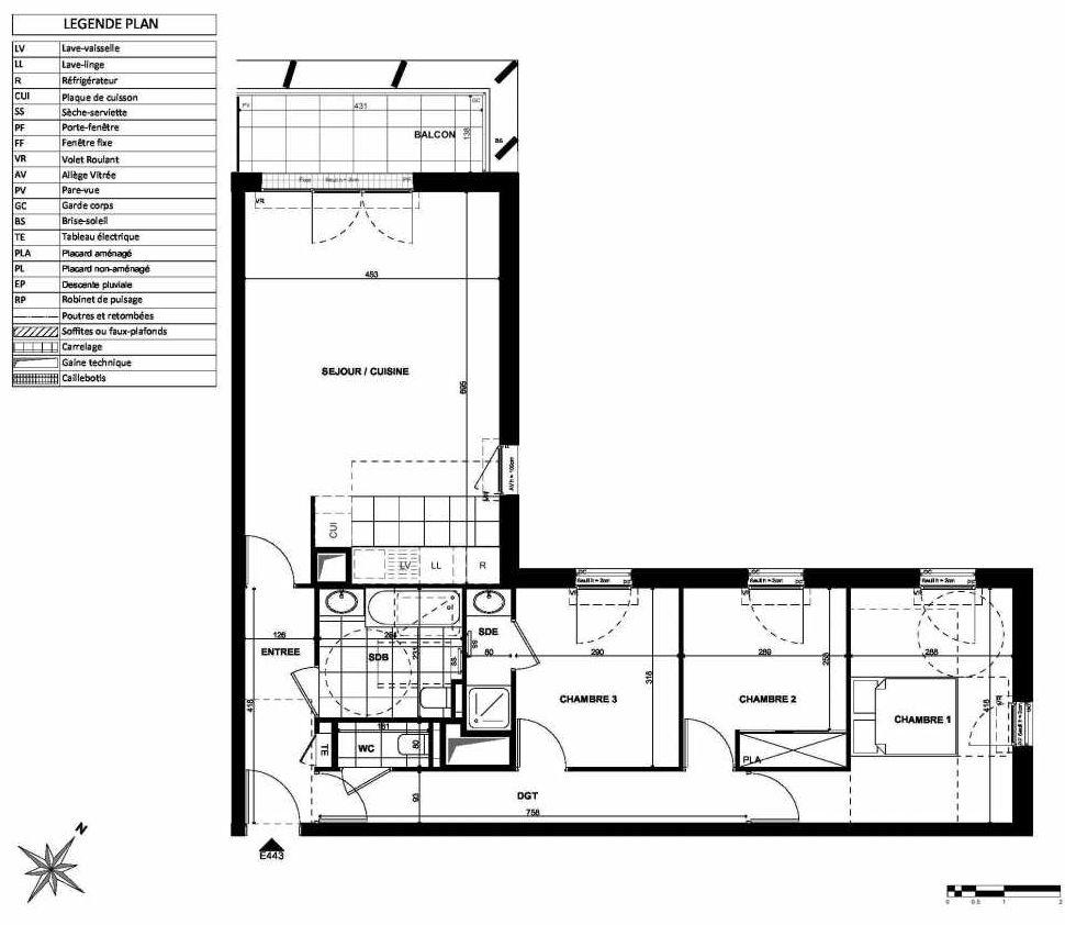 Plan E443, appartement neuf type T4 au 4ème étage, orienté Nord faisant 84m² du programme neuf L'INSTANT à Clichy.