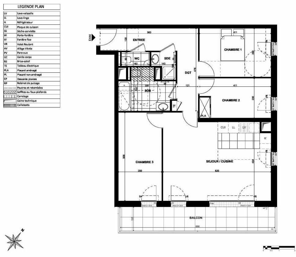 Plan E444, appartement neuf type T4 au 4ème étage, orienté Sud faisant 84m² du programme neuf L'INSTANT à Clichy.