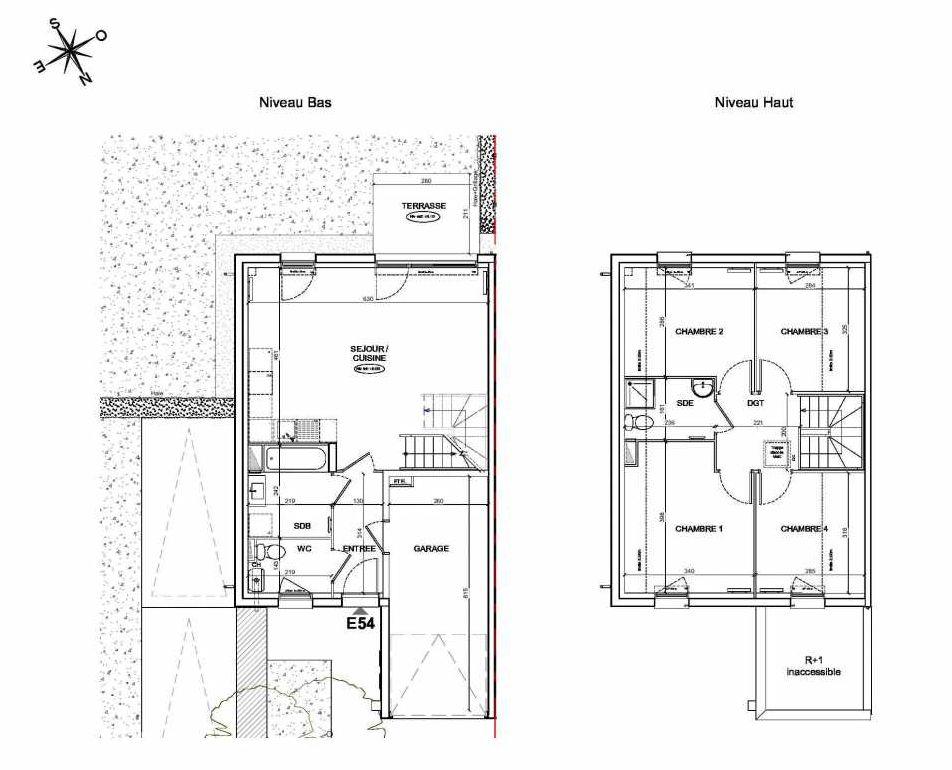 Plan E54, appartement neuf type T5 au Rez de chaussée, faisant 90m² du programme neuf LE PARC DES ARCHERS à Montlhéry.