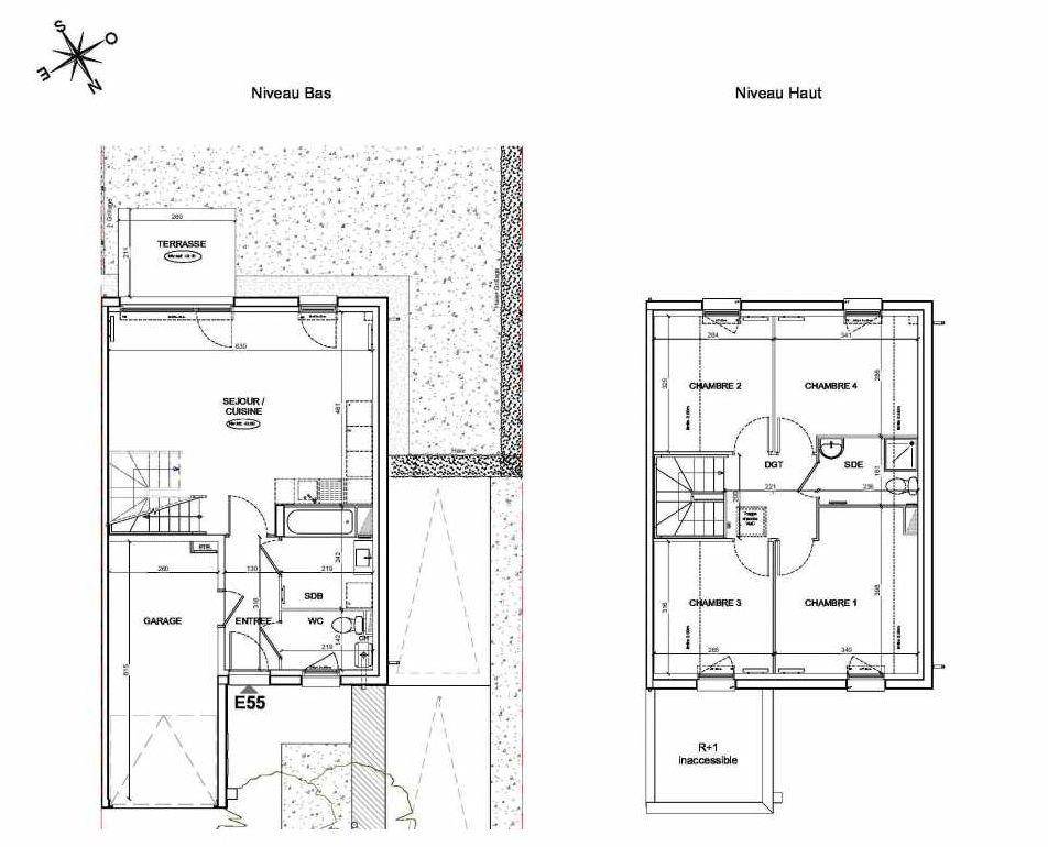 Plan E55, appartement neuf type T5 au Rez de chaussée, faisant 90m² du programme neuf LE PARC DES ARCHERS à Montlhéry.