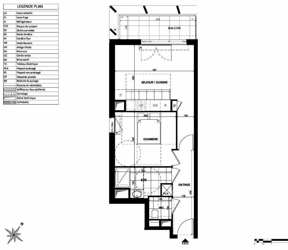 Plan E622, appartement neuf type T2 au 6ème étage, orienté Nord faisant 44m² du programme neuf L'INSTANT à Clichy.