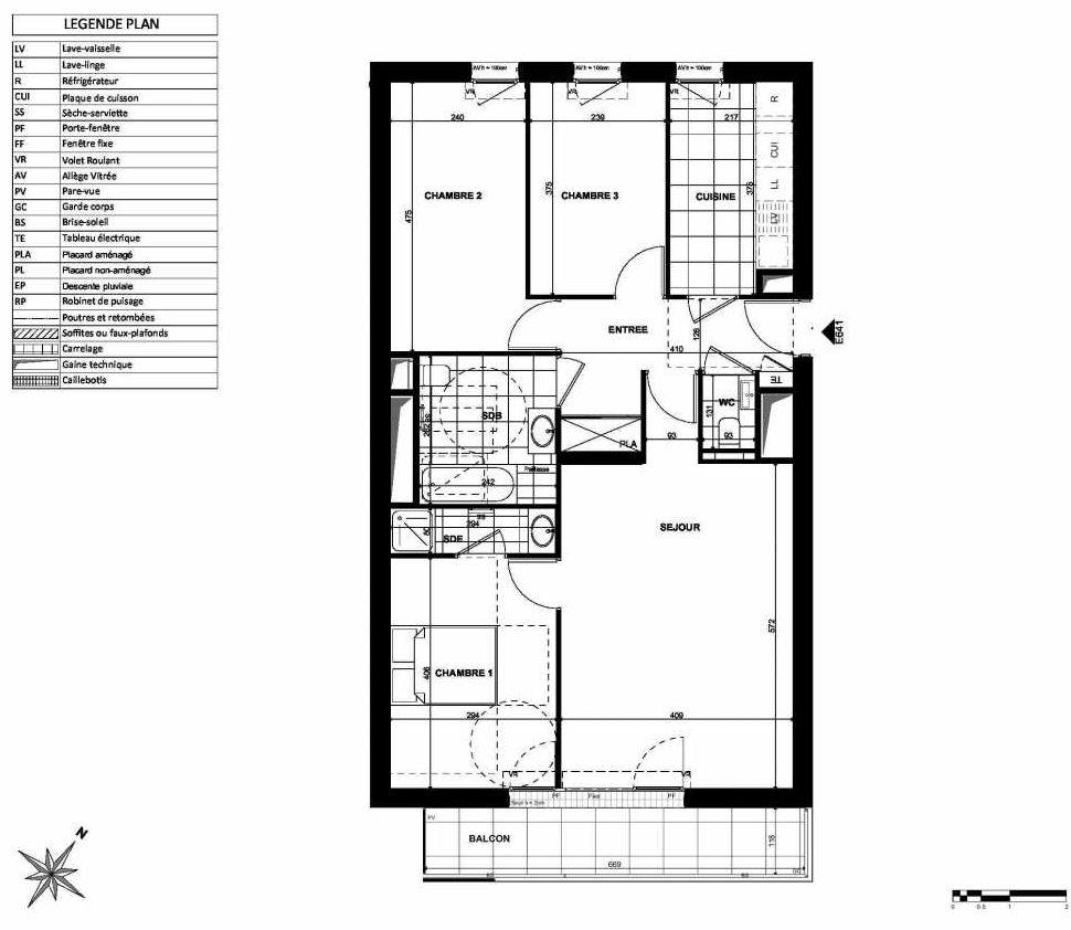 Plan E641, appartement neuf type T4 au 6ème étage, orienté Sud faisant 83m² du programme neuf L'INSTANT à Clichy.