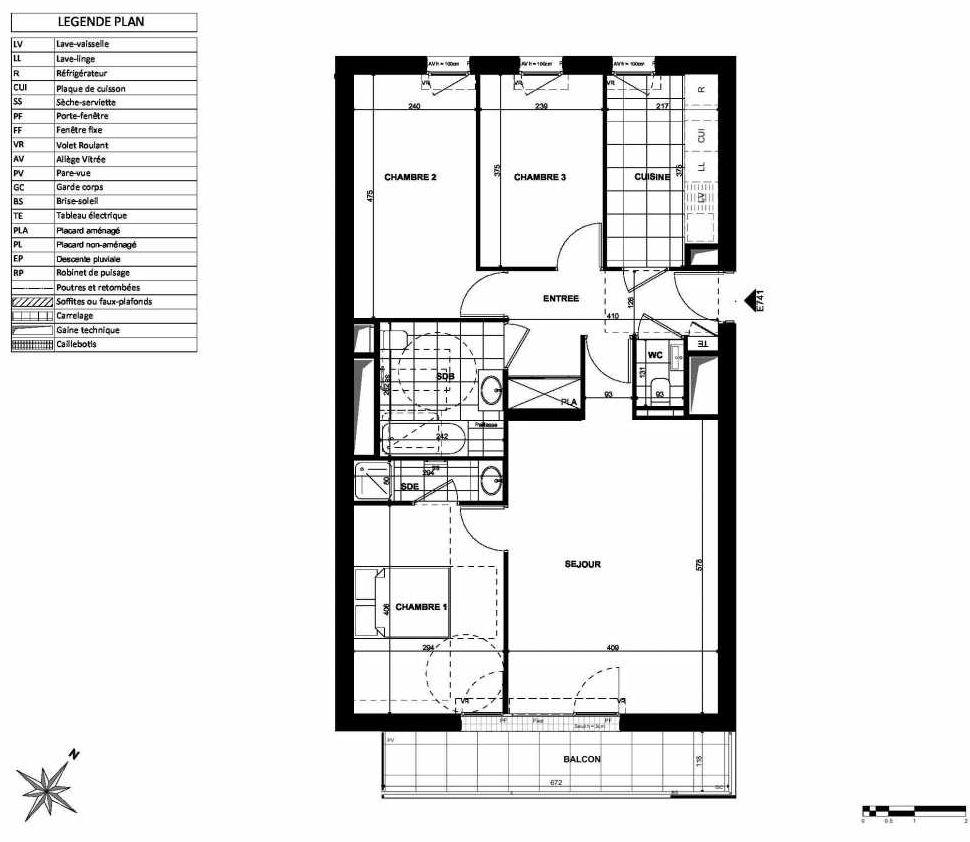 Plan E741, appartement neuf type T4 au 7ème étage, orienté Sud faisant 83m² du programme neuf L'INSTANT à Clichy.
