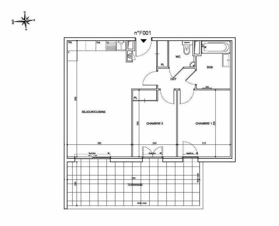 Plan F001, appartement neuf type T3 au Rez de chaussée, orienté Est faisant 64m² du programme neuf Coeur Mougins - Jardins des Sens et Jardins en Vue à Mougins.