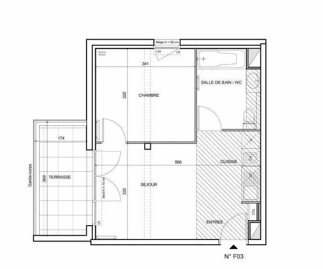 Plan F03, appartement neuf type T2 au Rez de chaussée, faisant 36m² du programme neuf 188 FAUBOURG à Toulouse.