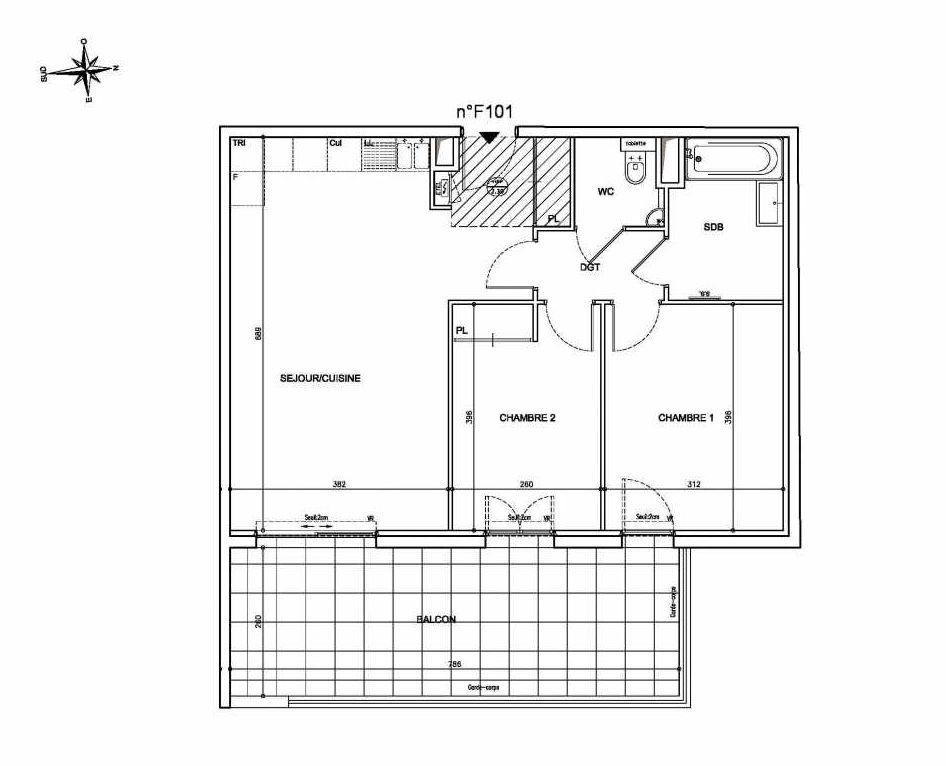 Plan F101, appartement neuf type T3 au 1er étage, orienté Est faisant 64m² du programme neuf Coeur Mougins - Jardins des Sens et Jardins en Vue à Mougins.