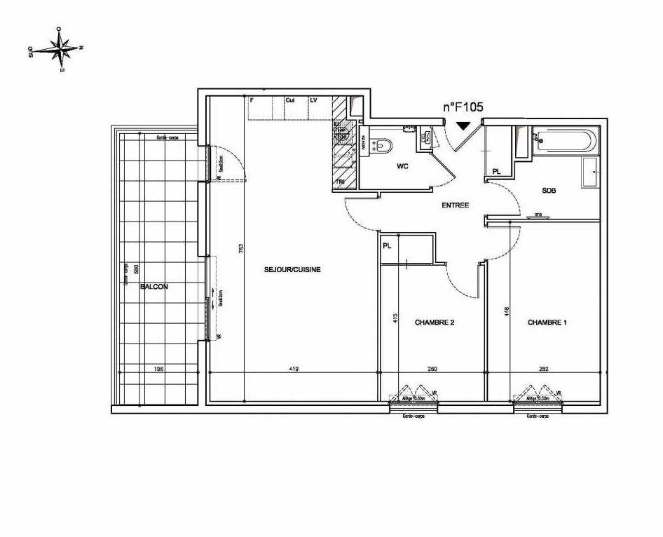Plan F105, appartement neuf type T3 au 1er étage, orienté Sud faisant 67m² du programme neuf Coeur Mougins - Jardins des Sens et Jardins en Vue à Mougins.