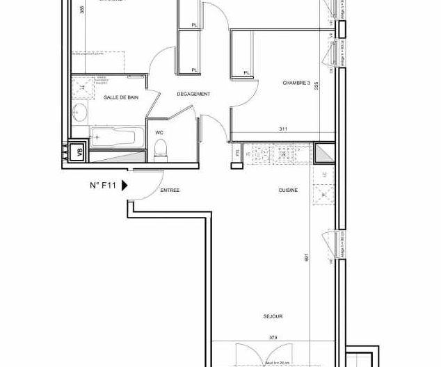 Plan F11, appartement neuf type T4 au 1er étage, faisant 76m² du programme neuf 188 FAUBOURG à Toulouse.