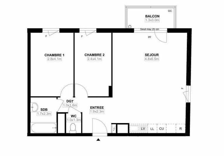 Plan F12, appartement neuf type T3 au 1er étage, faisant 63m² du programme neuf Les Jardins Saint-Louis à Carrières-sous-Poissy.