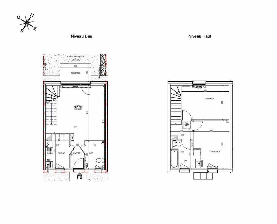 Plan F2, appartement neuf type T3 au Rez de chaussée, faisant 70m² du programme neuf LE PARC DES ARCHERS à Montlhéry.