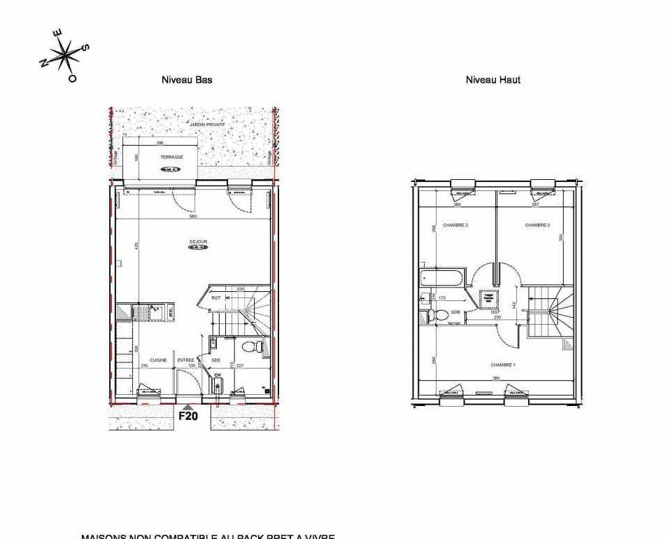 Plan F20, appartement neuf type T4 au Rez de chaussée, faisant 80m² du programme neuf LE PARC DES ARCHERS à Montlhéry.