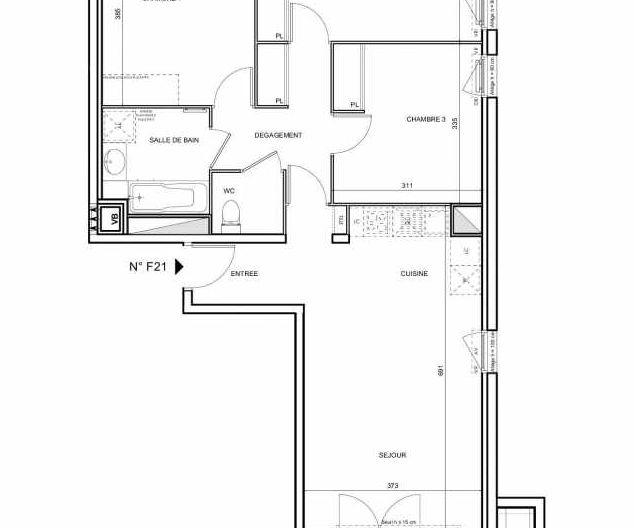 Plan F21, appartement neuf type T4 au 2ème étage, faisant 76m² du programme neuf 188 FAUBOURG à Toulouse.