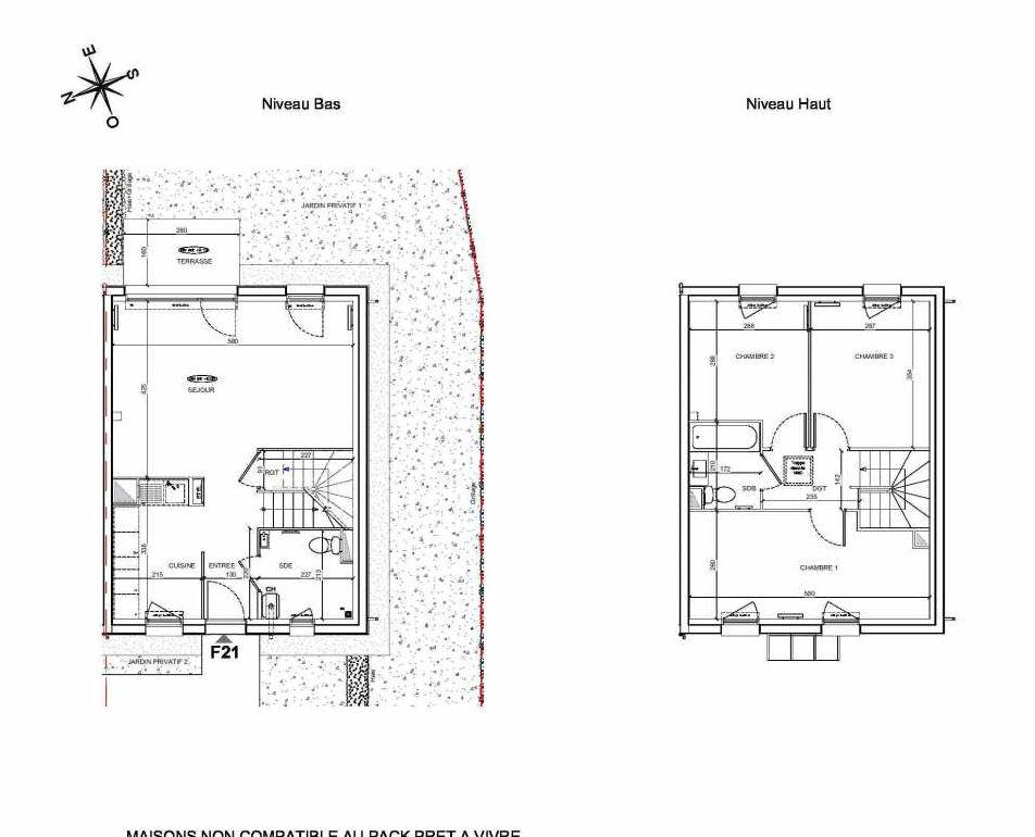 Plan F21, appartement neuf type T4 au Rez de chaussée, faisant 80m² du programme neuf LE PARC DES ARCHERS à Montlhéry.