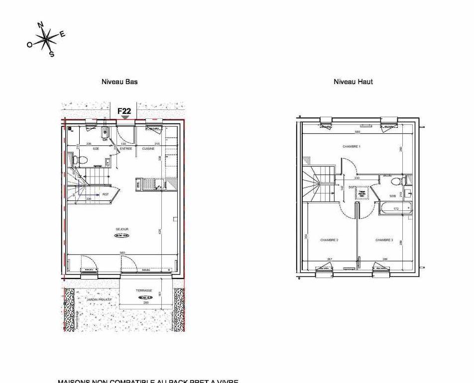 Plan F22, appartement neuf type T4 au Rez de chaussée, faisant 80m² du programme neuf LE PARC DES ARCHERS à Montlhéry.