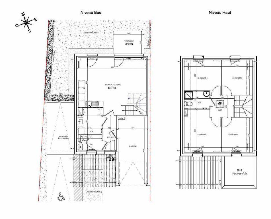 Plan F29, appartement neuf type T5 au Rez de chaussée, faisant 90m² du programme neuf LE PARC DES ARCHERS à Montlhéry.
