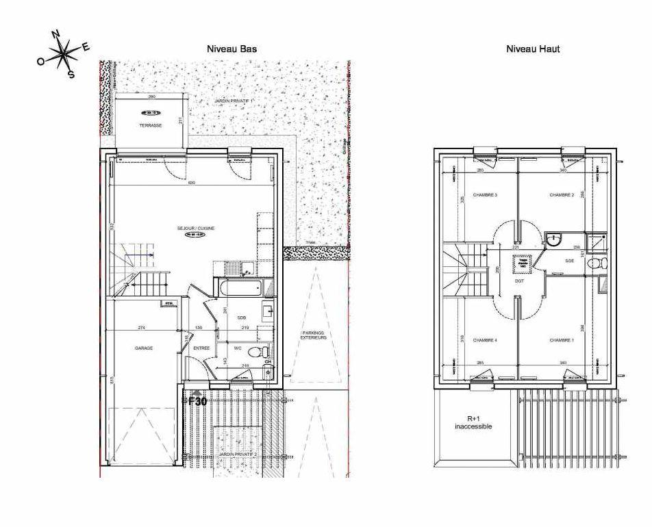 Plan F30, appartement neuf type T5 au Rez de chaussée, faisant 90m² du programme neuf LE PARC DES ARCHERS à Montlhéry.