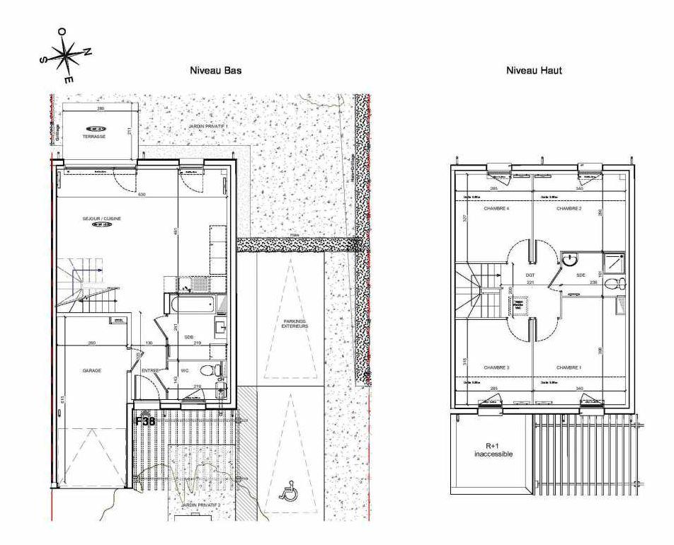 Plan F38, appartement neuf type T5 au Rez de chaussée, faisant 90m² du programme neuf LE PARC DES ARCHERS à Montlhéry.