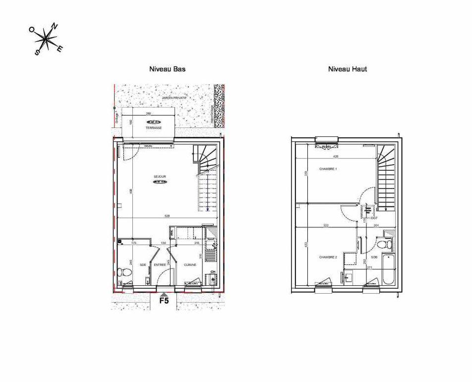Plan F5, appartement neuf type T3 au Rez de chaussée, faisant 70m² du programme neuf LE PARC DES ARCHERS à Montlhéry.