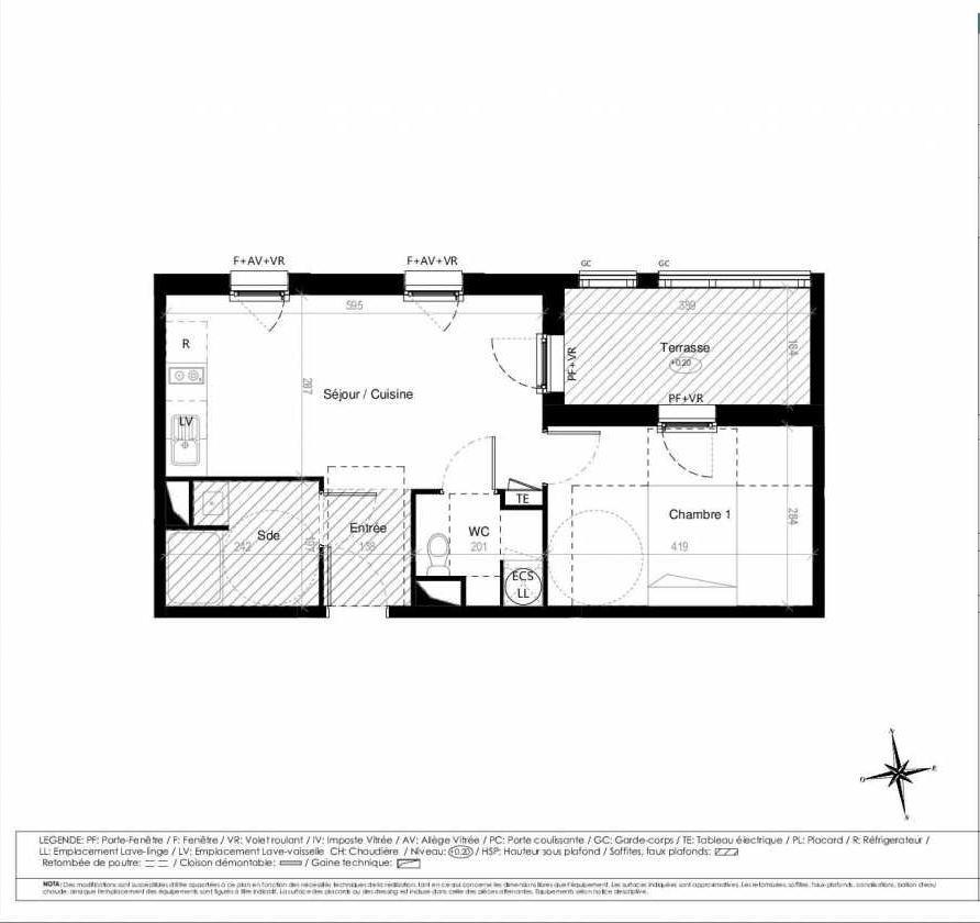 Plan G1102, appartement neuf type T2 au 1er étage, orienté Ouest faisant 40m² du programme neuf Terre Garonne à Toulouse.