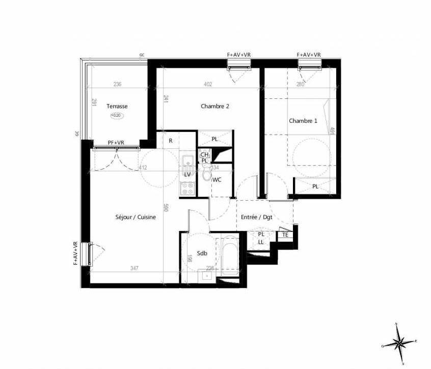 Plan G1201, appartement neuf type T3 au 2ème étage, orienté Ouest faisant 60m² du programme neuf Terre Garonne à Toulouse.