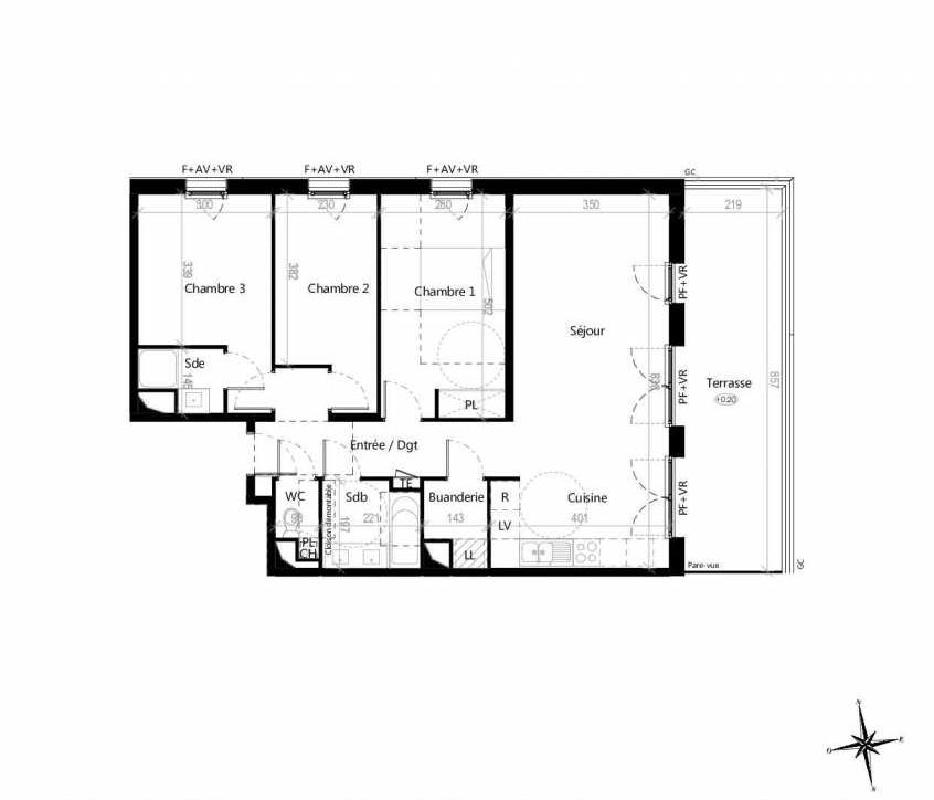Plan G1202, appartement neuf type T4 au 2ème étage, orienté Est faisant 85m² du programme neuf Terre Garonne à Toulouse.