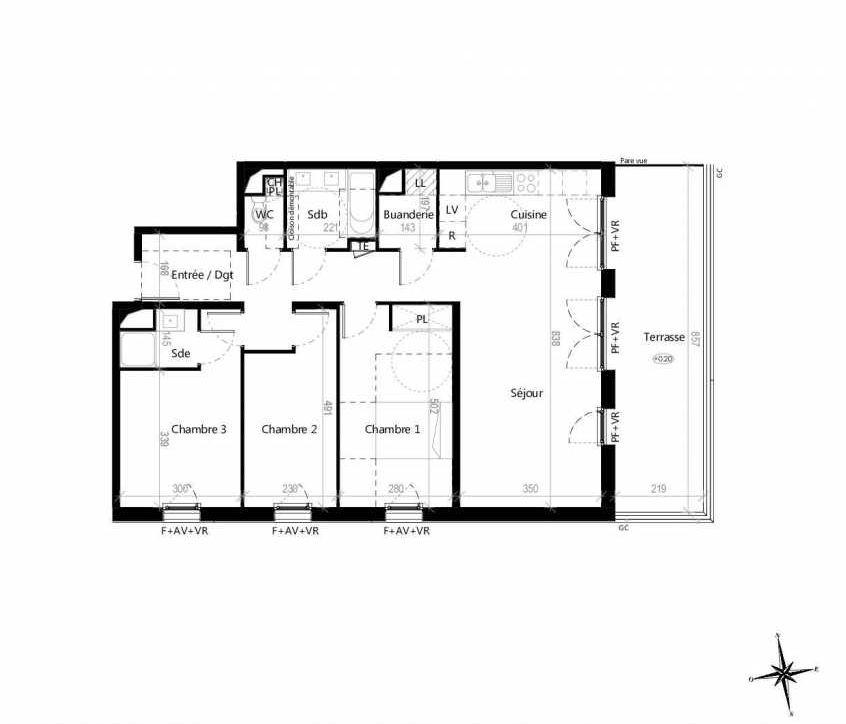 Plan G1203, appartement neuf type T4 au 2ème étage, orienté Est faisant 89m² du programme neuf Terre Garonne à Toulouse.