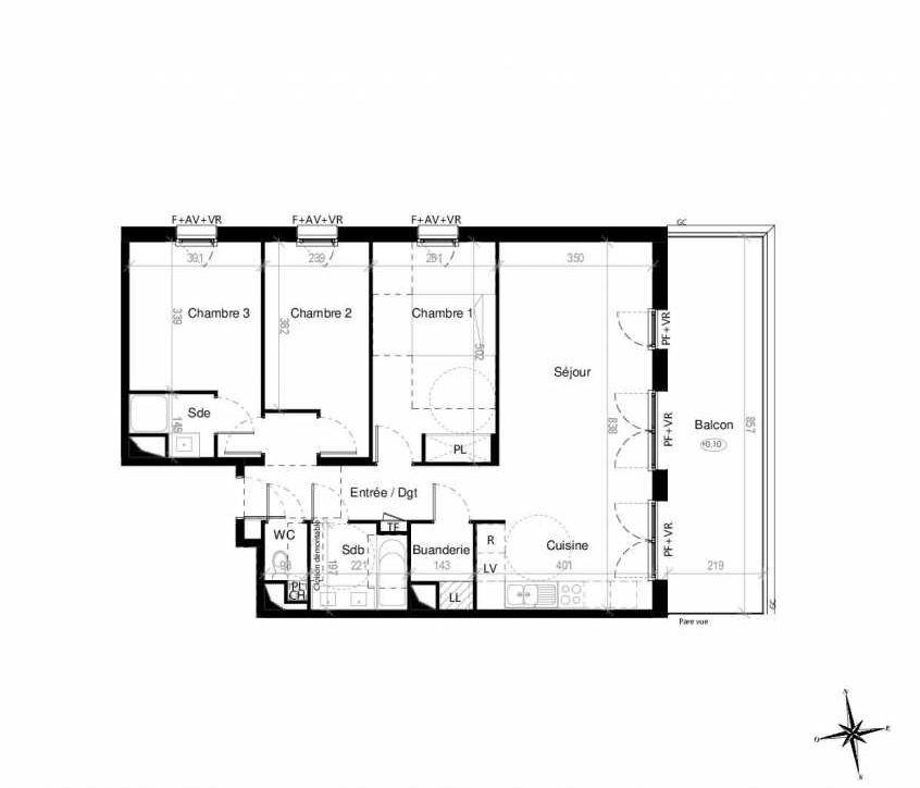 Plan G1302, appartement neuf type T4 au 3ème étage, orienté Est faisant 86m² du programme neuf Terre Garonne à Toulouse.