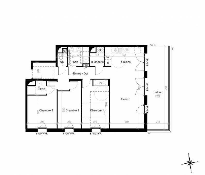 Plan G1303, appartement neuf type T4 au 3ème étage, orienté Est faisant 89m² du programme neuf Terre Garonne à Toulouse.