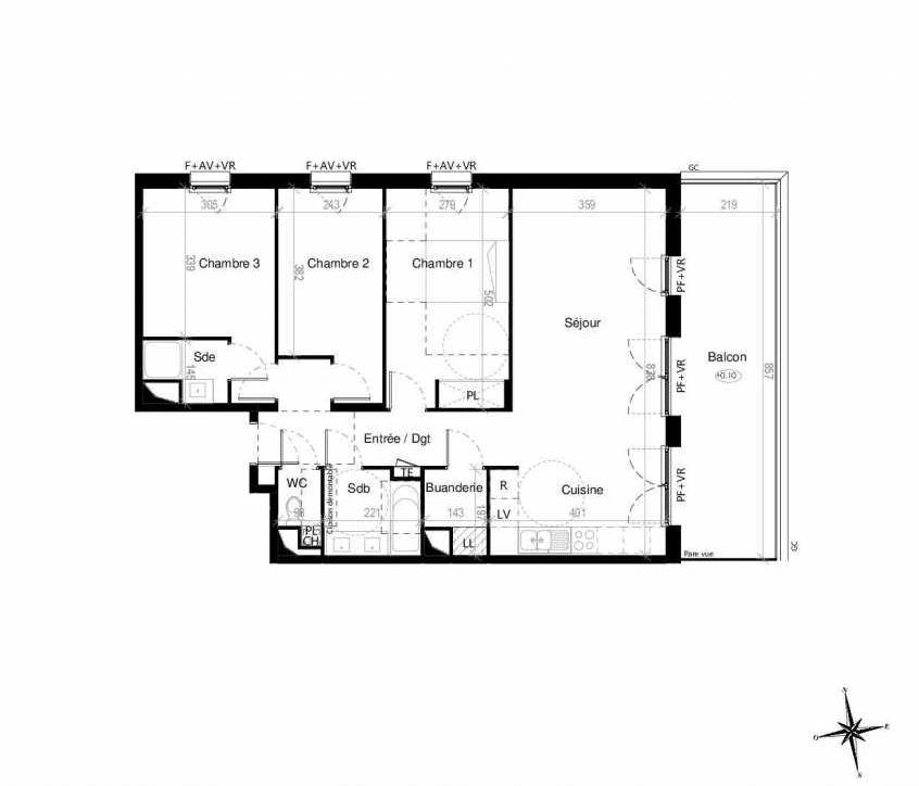 Plan G1402, appartement neuf type T4 au 4ème étage, orienté Est faisant 86m² du programme neuf Terre Garonne à Toulouse.