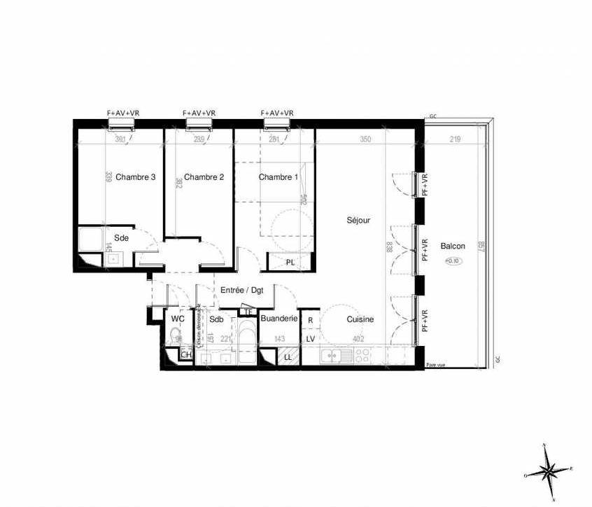 Plan G1502, appartement neuf type T4 au 5ème étage, orienté Est faisant 86m² du programme neuf Terre Garonne à Toulouse.
